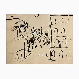 Herta Hausmann - Roma - Black Marker Drawing - Mid-20th-Century