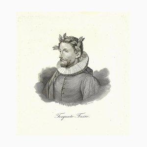 Portrait Torquato Tasso - Gravure à l'Eau-Forte sur Papier - 19th-Century