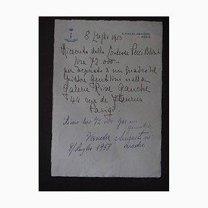 Anna Laetitia Pecci-Blunt - a Sale of Gentilini's Oil - Autograph Receipt - 1953