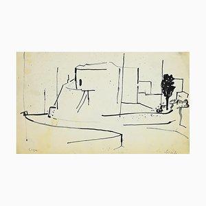 Dessin Herta Hausmann - Landscape - Original Marker Drawing - 1960s