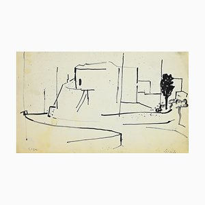 Escultura original Herta Hausmann - Landscape - Marker Drawing - años 60