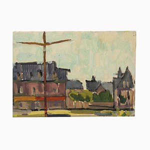 Unknown - Country Houses - Original Oil on Cardboard - Mid-20th Century