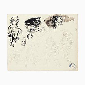 Unbekannt - Figuren - Original Tinte, Bleistift & Aquarell auf Papier - 20. Jahrhundert