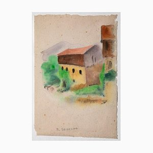Pierre Segogne - Landhaus - Aquarell auf Papier - 1950er Jahre