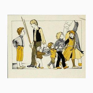 Paul-Louis Delance - Familienportrait - Original Mixed Media - Frühes 20. Jahrhundert