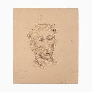 Marcello Ciampolini - Tête d'Homme - Original Pen and Pencil on Paper - 1946