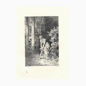 Emile Boilvin - the Garter - Original Radierung - 1882