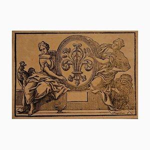 Jean-michel Papillon - Lilie von Frankreich - Radierung - spätes 18. Jahrhundert
