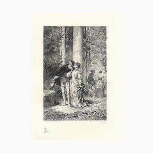 Emile Boilvin - L'Audacieux et la Timide - Radierung - 1882