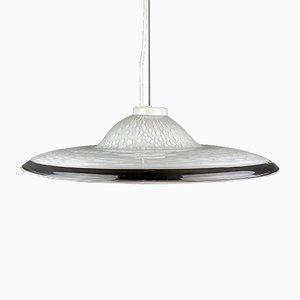 Lampe à Suspension Vintage en Verre de Murano Blanc, 1970s