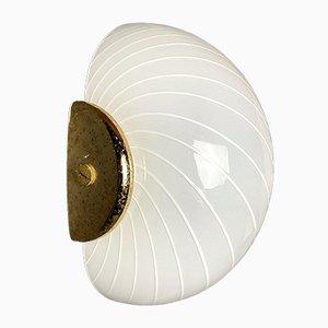 Vintage White Swirl Murano Wall Lamp, 1970s