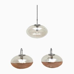 Mid-Century German Space Age Glass Ufo Pendant Lamps from Limburg, Set of 3