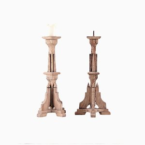 Gothic Style Candleholders, 1950s, Set of 2
