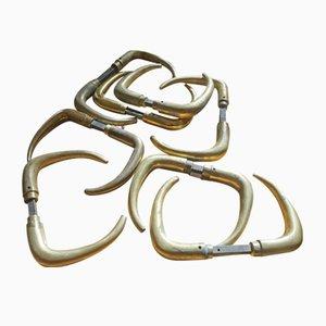 Vintage Messing Coupe Türgriffe von Kay Fisker, 8er Set