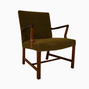 Vintage Mahogany Armchair with Original Upholstery by Jacob Kjær