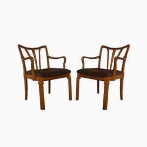 Dänische Eichenholz Armlehnstühle, 1950er, 2er Set