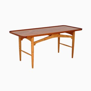 Mid-Century Solid Oak Coffee Table with Teak Top