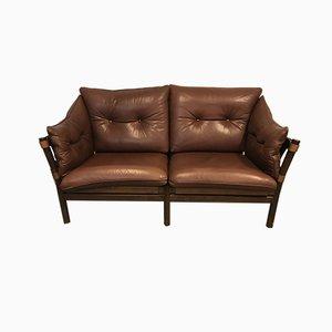 Scandinavian Leather 2-Seater Safari Sofa, 1960s
