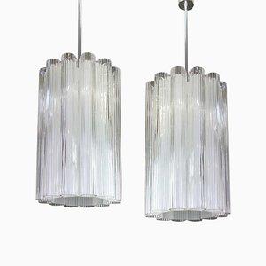 German Cylindrical Crystal Glass Chandelier from Doria Leuchten, 1960s