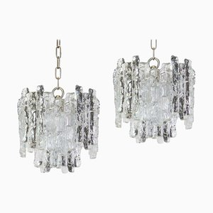 Austrian Murano Ice Glass Pendant Lamps from Kalmar, 1960s, Set of 2