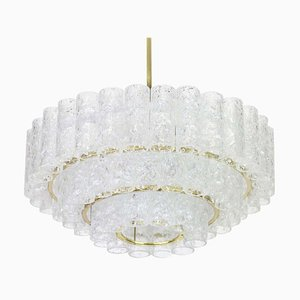 German Murano Ice Glass Tubes Chandelier from Doria Leuchten, 1960s