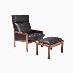 Rosewood Armchair & Ottoman by Illum Wikkelsø for Niels Eilersen, 1960s, Set of 2