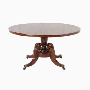 Large Regency Mahogany & Rosewood Round Center Table, 1800s