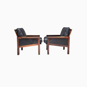 Rosewood & Black Leather Upholstery Armchairs by Illum Wikkelsø for Niels Eilersen, 1960s, Set of 2