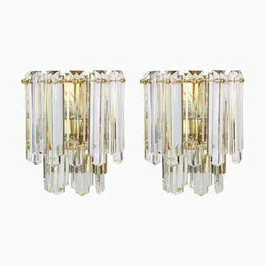 Large Austrian Crystal Glass Sconces from Kalmar Franken KG, 1970s, Set of 2