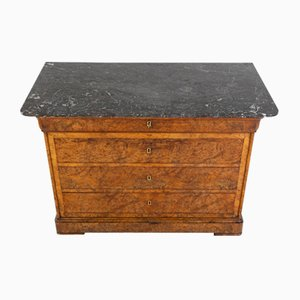 French Walnut Chest of Drawers with Marble Top, 1800s