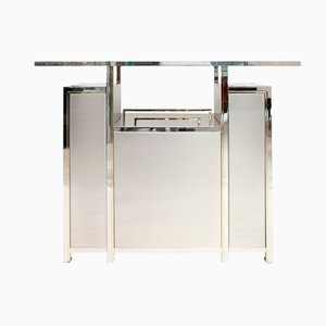 Vintage Chrome and Brass Bar Counter from Maison Jansen