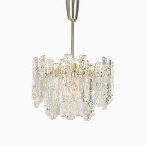 Large Austrian Murano Ice Glass Chandelier from Kalmar, 1960s