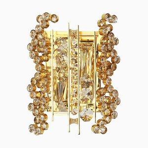 Vergoldete Deutsche Wandlampe aus Goldenem Messing & Kristallglas von Palwa, 1960er