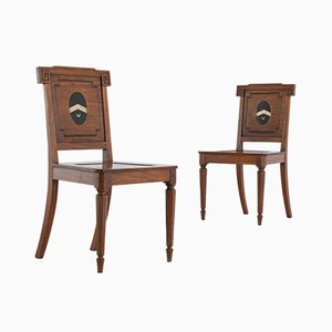 Regency Mahogany Hall Chairs, 1800s, Set of 2