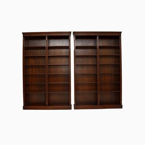 Large Antique Georgian Style Mahogany Open Bookcases, 1960s, Set of 2