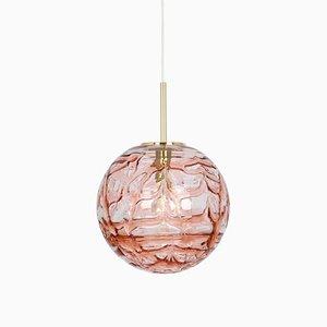 Large German Pink Murano Glass Ball Pendant Lamp from Doria Leuchten, 1970s