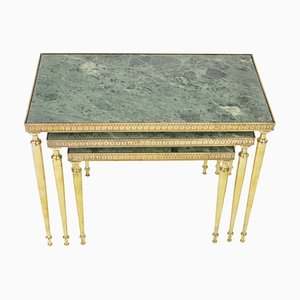 Mid-Century Marble & Brass Nesting Tables, 1960s, Set of 3