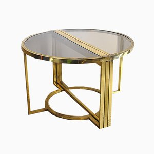 Round Burnished Brass & Glass Table, 1970s