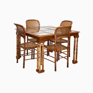 Faux Bamboo Dining Table & 4 Chairs, 1970s, Set of 5