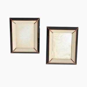 Black Lacquered Wood & Gilt Photo Frames, 1950s, Set of 2