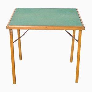 Italian Wood & Fabric Game Table, 1960s