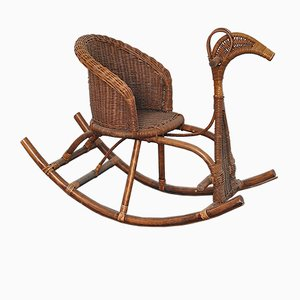 Rocking Chair / Cheval d'Enfant en Rotin, 1950s
