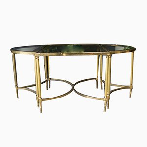 French Hollywood Revival Brass & Glass Coffee Table & D-Shaped Side Tables, 1970s, Set of 3