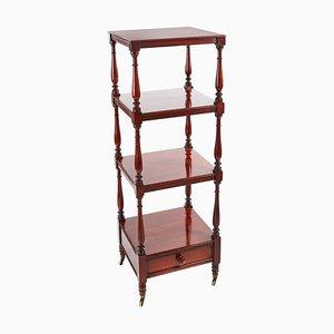 Antique Mahogany Free Standing Four-Tier Shelf