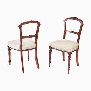 Viktorianische Beistellstühle aus Nussholz, 2er Set