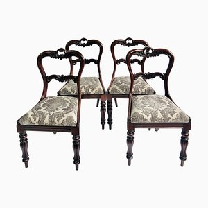Antique William IV Carved Rosewood Dining Chairs, Set of 4