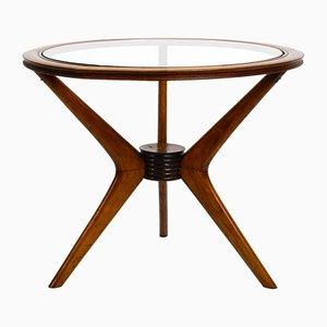 Italian Walnut & Glass Side Table, 1950s