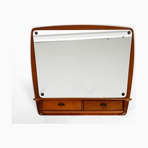 Danish Teak Wall Mirror with Shelf and Drawers, 1960s