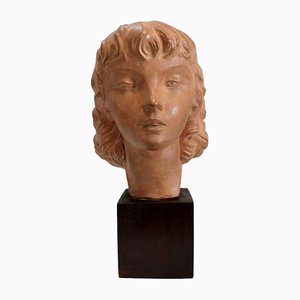 Art Deco Terracotta Bust of a Young Girl by J.C. Guéro, Early 20th Century