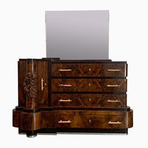 Art Deco Walnut Chest of Drawers with Mirror by Ducrot, 1920s, Set of 2